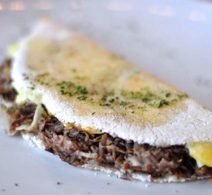 Dried Beef and Shredded Mozzarella Sandwich