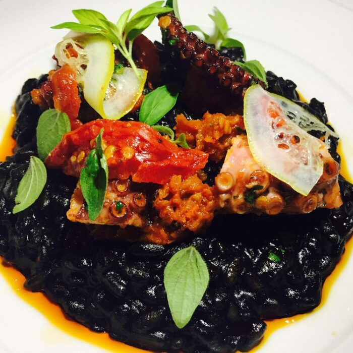 Grilled Octopus and Corona Beans in a Spicy Tomato Stew with Squid Ink and Tuna Heart